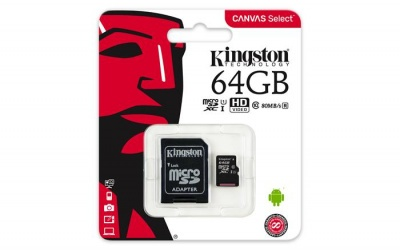 "Memóriakártya, microSDXC, 64GB, CL10/U1, 80/10 MB/s, adapter, KINGSTON ""Canvas Select"""